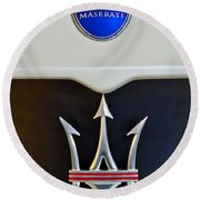 2005 Maserati Mc12 Hood Emblem Round Beach Towel by Jill Reger