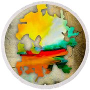 Austin Map And Skyline Watercolor Round Beach Towel by Marvin Blaine