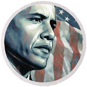 Barack Obama Artwork 2 Round Beach Towel by Sheraz A