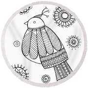 Bird Dove Round Beach Towel by Neeti Goswami