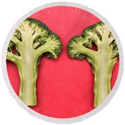 Broccoli Round Beach Towel by Tom Gowanlock