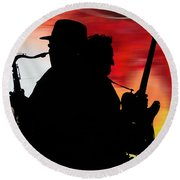 Bruce Springsteen Clarence Clemons Round Beach Towel by Marvin Blaine