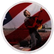 Bruce Springsteen Round Beach Towel by Marvin Blaine