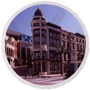 Buildings Along The Road, Rodeo Drive Round Beach Towel by Panoramic Images