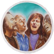 Crosby Stills Nash And Young Round Beach Towel by Kean Butterfield