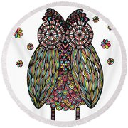 Dream Owl Round Beach Towel by Susan Claire