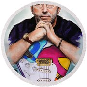 Eric Clapton Round Beach Towel by Melanie D