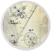 Fishing Reel Patent 1939 Round Beach Towel by Jon Neidert