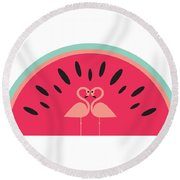 Flamingo Watermelon Round Beach Towel by Susan Claire