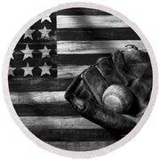 Folk Art American Flag And Baseball Mitt Black And White Round Beach Towel by Garry Gay