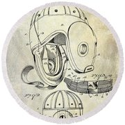 Football Helmet Patent Round Beach Towel by Jon Neidert