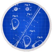 Golf Club Patent 1909 - Blue Round Beach Towel by Stephen Younts