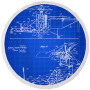 Helicopter Patent 1940 - Blue Round Beach Towel by Stephen Younts