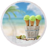 Ice Creams  Round Beach Towel by Amanda Elwell