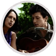 Joan Baez With Bob Dylan Round Beach Towel by Celestial Images