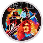 Led Zeppelin Art Round Beach Towel by Donna Wilson