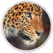 Leopard Round Beach Towel by David Stribbling