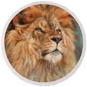 Lion Round Beach Towel by David Stribbling