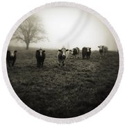 Livestock Round Beach Towel by Les Cunliffe