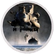 Mh-47 Chinook Helicopter Round Beach Towel by Celestial Images