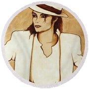 Michael Jackson Original Coffee Painting Round Beach Towel by Georgeta  Blanaru