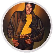 Michael Jackson Round Beach Towel by Paul Meijering