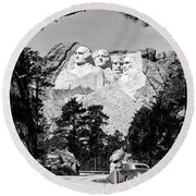 Mount Rushmore In South Dakota Round Beach Towel by Underwood Archives
