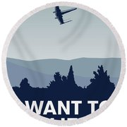 My I Want To Believe Minimal Poster-xwing Round Beach Towel by Chungkong Art