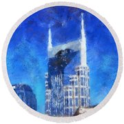 Nashville Skyline Round Beach Towel by Dan Sproul