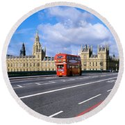 Parliament Big Ben London England Round Beach Towel by Panoramic Images