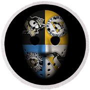 Penguins Goalie Mask Round Beach Towel by Joe Hamilton
