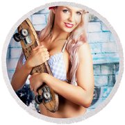 Portrait Of A Young Grunge Woman On Graffiti Wall Round Beach Towel by Jorgo Photography - Wall Art Gallery