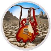 Soft Guitar II Round Beach Towel by Mike McGlothlen
