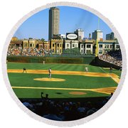 Spectators In A Stadium, Wrigley Field Round Beach Towel by Panoramic Images