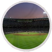 Spectators Watching A Baseball Match Round Beach Towel by Panoramic Images