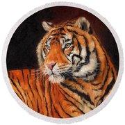 Sumatran Tiger  Round Beach Towel by David Stribbling
