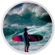 Surfing Round Beach Towel by Marvin Blaine