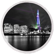 The Shard Lasers Round Beach Towel by Dawn OConnor