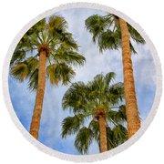Three Palms Palm Springs Round Beach Towel by William Dey