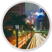 Traffic On The Road, Hong Kong, China Round Beach Towel by Panoramic Images