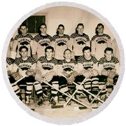 University Of Michigan Hockey Team 1947 Round Beach Towel by Mountain Dreams