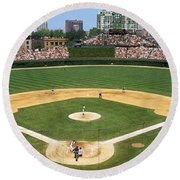 Usa, Illinois, Chicago, Cubs, Baseball Round Beach Towel by Panoramic Images