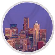 Usa, Washington, Seattle, Cityscape Round Beach Towel by Panoramic Images