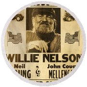 Vintage Willie Nelson 1985 Farm Aid Poster Round Beach Towel by John Stephens