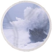 Waves Breaking On The Coast, Shore Round Beach Towel by Panoramic Images