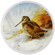 Winter Woodcock  Round Beach Towel by Celestial Images