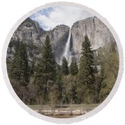 Yosemite National Park Round Beach Towel by Juli Scalzi
