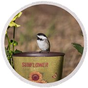 Black-capped Chickadee Poecile Round Beach Towel by Linda Freshwaters Arndt