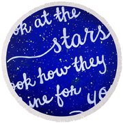 11x14 Look At The Stars Round Beach Towel by Michelle Eshleman