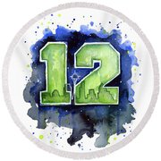 12th Man Seahawks Art Seattle Go Hawks Round Beach Towel by Olga Shvartsur